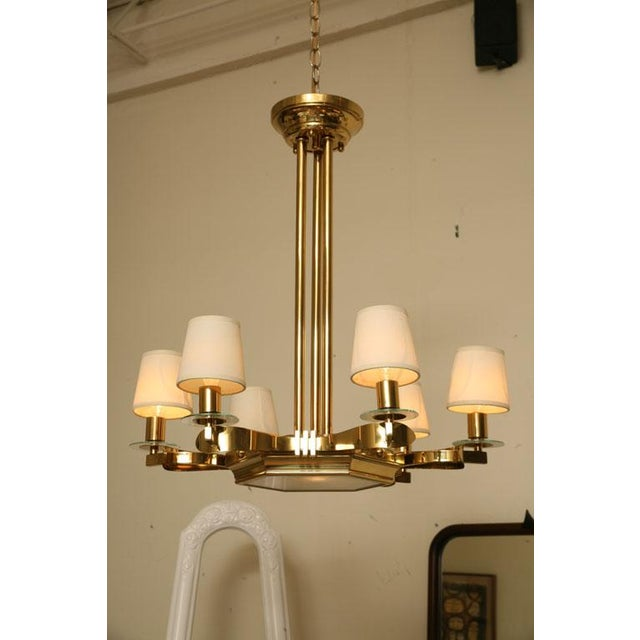 French Brass and Glass Chandelier Inspired by Gilbert Poillerat - Image 2 of 9