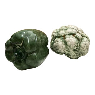 Portuguese Majolica Veggies, Pair For Sale