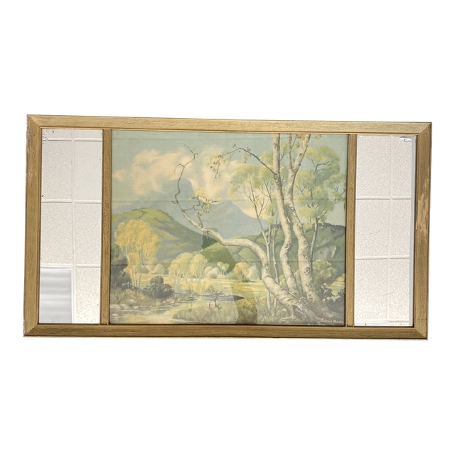 Vintage Edwin Hinde Print With Antique Mirror Frame For Sale