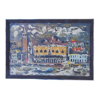 "Vintage Mid Century Original Expressionist Oil On Canvas-""Venice"" Cityscape-Framed For Sale"