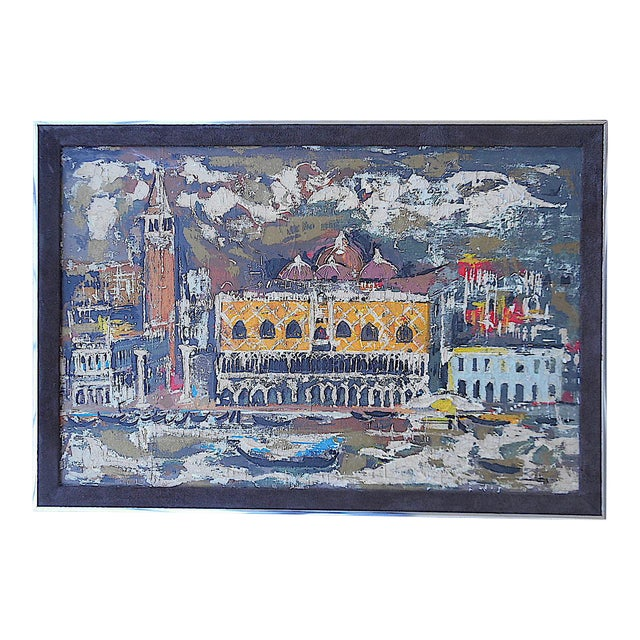 """Vintage Mid Century Original Expressionist Oil On Canvas-""""Venice"""" Cityscape-Framed For Sale"""