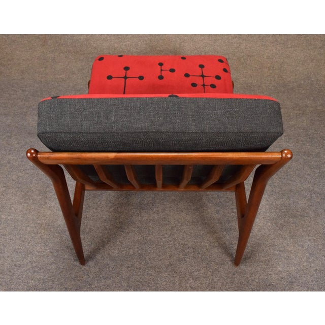 1960s Mid Century Modern Kofod Larsen for Selig Red and Black Slipper Chair For Sale - Image 9 of 13