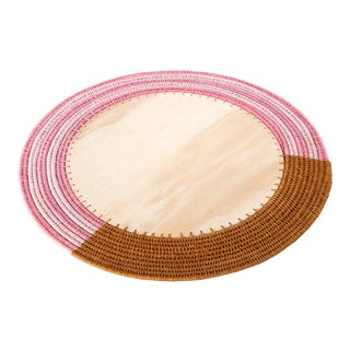 Round Sisal & Wood Stripe Charger Caramel/Peony & Blush For Sale