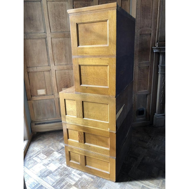 Antique Yawman and Erbe Oak Stacking File Cabinet For Sale - Image 4 of 11