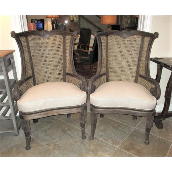 White Modern Off White Linen Wingback Chairs French Style Cane and Mahogany Accent Chairs- A Pair For Sale - Image 8 of 9