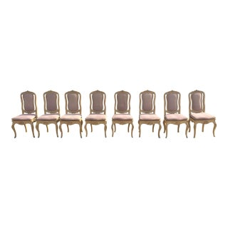 Carved French Louis XV Style Dining Chairs - Set of 8