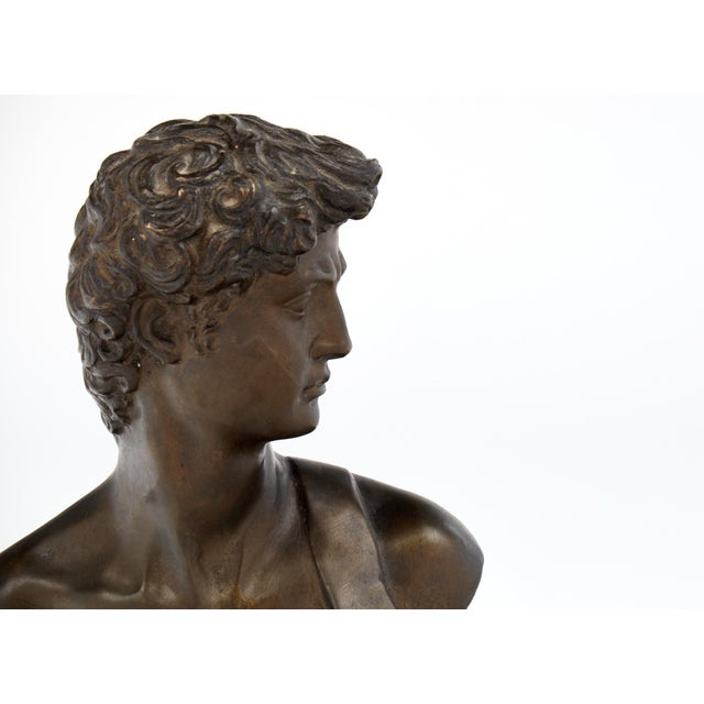 French Antique Bust of David after Michelangelo For Sale In Austin - Image 6 of 11