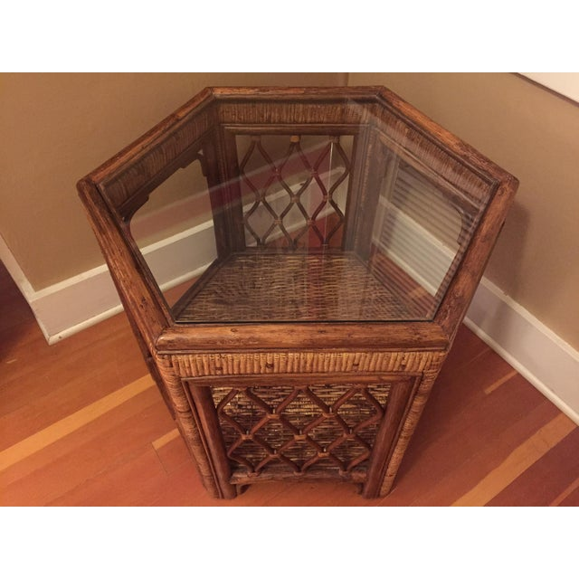 Boho Woven Rattan Side Table - Image 6 of 7