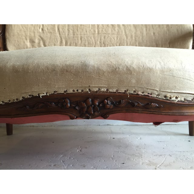 Antique Louis XV Carved Walnut Settee Loveseat - Image 10 of 11
