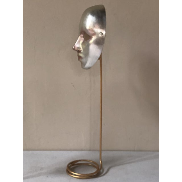 Italian Italian Paper-Maché Mask on Custom Stand For Sale - Image 3 of 9