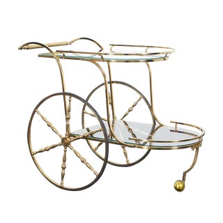 Vintage Italian Brass Bar Cart For Sale