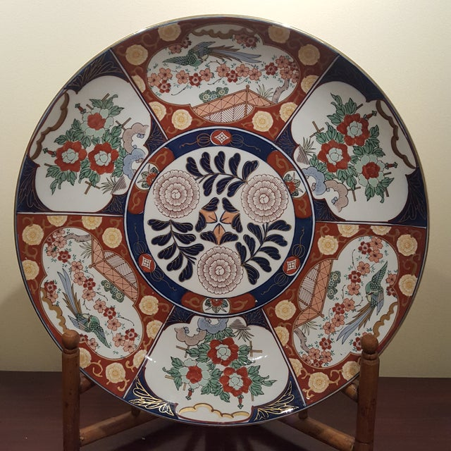 Bamboo Vintage Imari Porcelain Charger on Bamboo Stand For Sale - Image 7 of 8