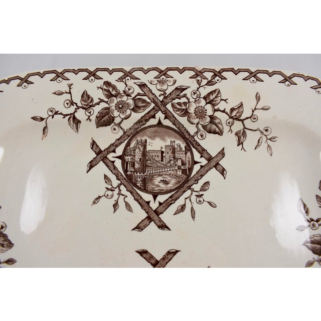 Staffordshire Potteries 19th C. English Aesthetic Movement Japonesque Transferware Serving Platter For Sale - Image 4 of 10