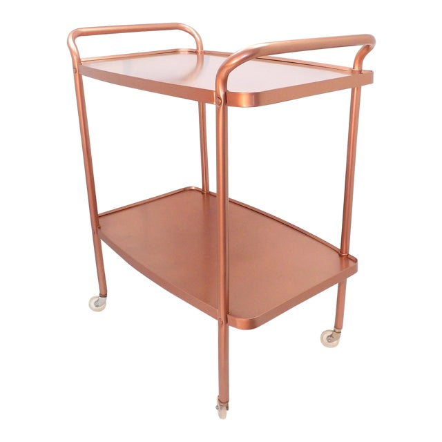 Mid-Century Modern Rose Gold Rolling Bar Cart For Sale