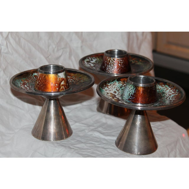 1930s Signed & Stamped Maison Bagues Enameled French Art Deco Candle Holders - Set of 3 For Sale - Image 9 of 13