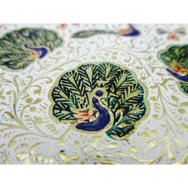 Enamel and Brass Peacock Trinket Dish Bowls - Set of 5 - Image 9 of 11