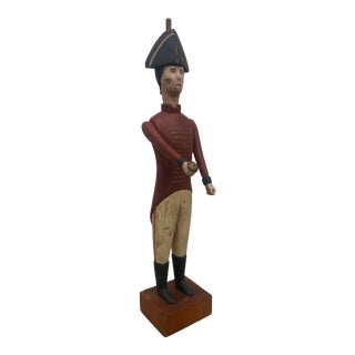 Sarreid Folk Art Revolutionary War Hessian Wooden Soldier Statue For Sale
