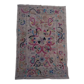Suzani Embroidered Bed Cover For Sale
