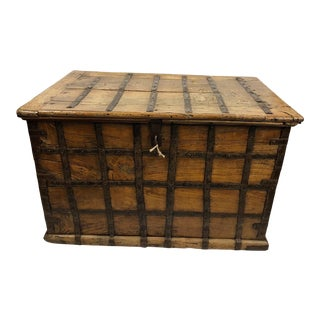 19th C Iron and Teak Trunk Coffee Table` From British Colonial India For Sale
