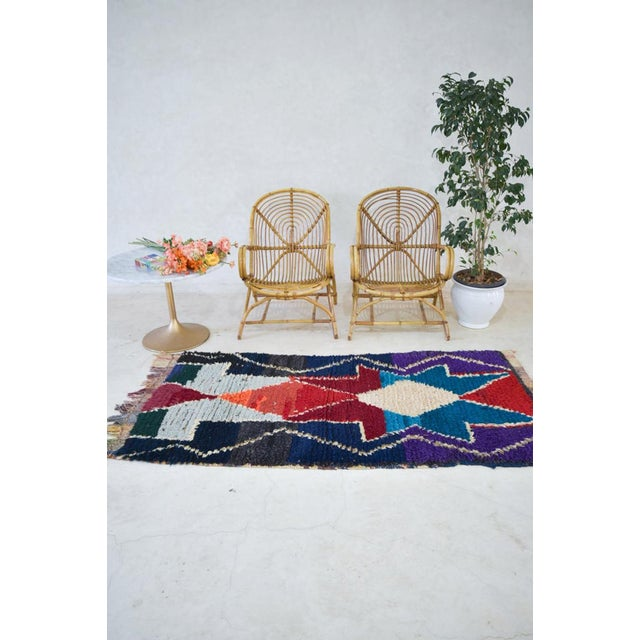 Contemporary 1970s Vintage Boucherouite Moroccan Wool Rug - 3′1″ × 6′6″ For Sale - Image 3 of 6
