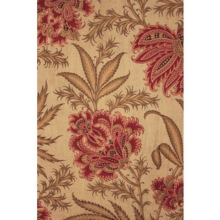 French Fabric Arts & Crafts 1890 Printed Floral Indienne Design Cotton 2.7 Yards For Sale