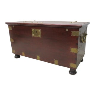 Victorian Mahogany Brass Bound Dovetailed Trunk For Sale