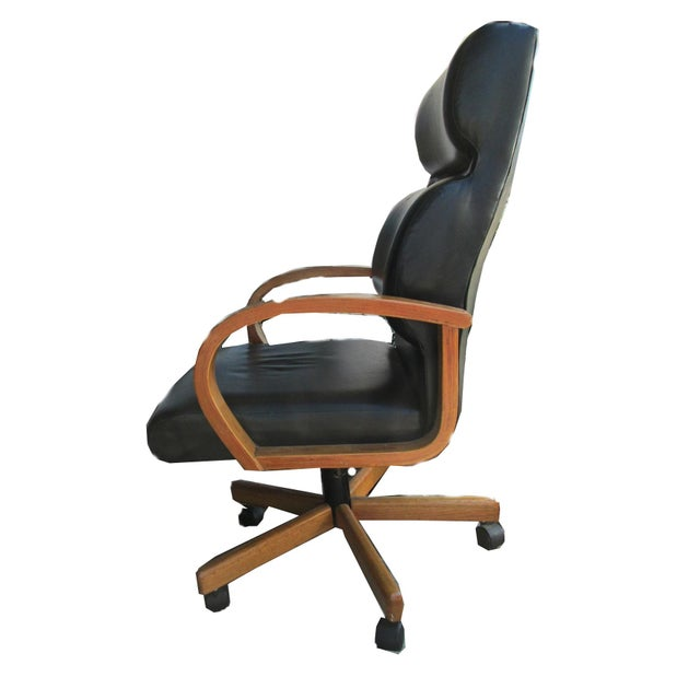 Black Leather Executive Office Chair - Image 4 of 5