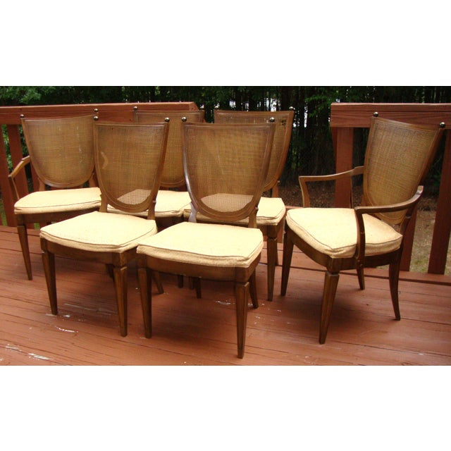 Thomasville Italian Cane Brass Dining Chairs - 6 - Image 2 of 11