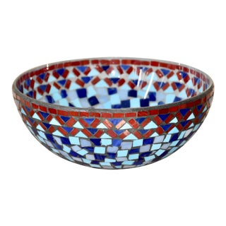 1990s Blue & Red Mosaic Glass Bowl For Sale