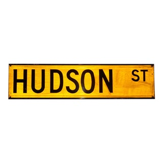 "1960s New York City Yellow Reflective Street Sign ""Hudson St"" - ""Meatpacking District"" For Sale"