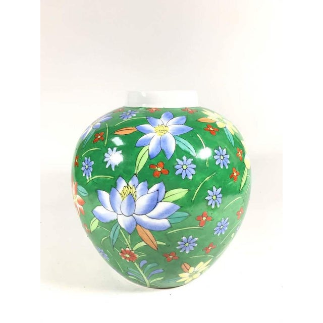 Hand Painted Floral Painted Vase For Sale - Image 4 of 4