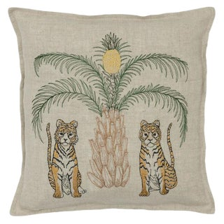 Tigers With Pineapple Palm Tree Pillow