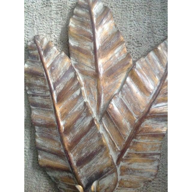 Vintage Gold Wooden Leaf Wall Sconce - Image 3 of 7