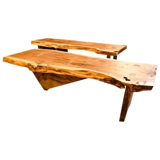 Pair of George Nakashima Style Slab Tree Bark Benches or Tables For Sale