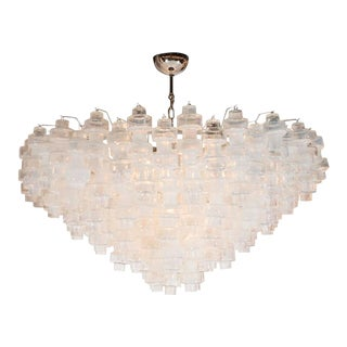 Modernist Iridescent and Clear Murano Glass Barbell Chandelier For Sale