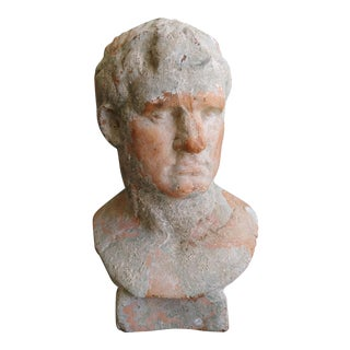 Emperor Nero Italian Terra Cotta Bust Roman Garden Sculpture For Sale
