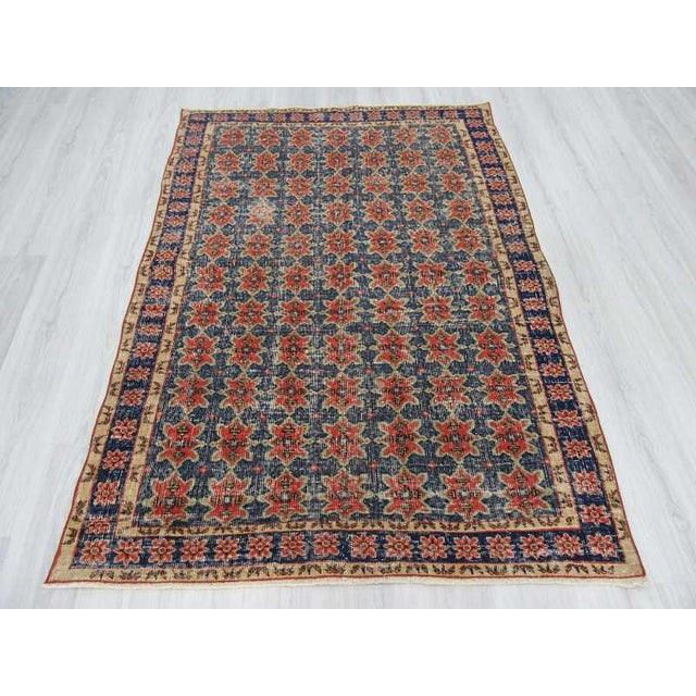 Islamic Vintage Decorative Turkish Rug - 4′8″ × 6′8″ For Sale - Image 3 of 6