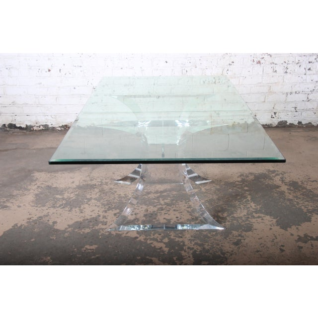 Lion in Frost Sculpted Lucite and Glass Dining Table For Sale - Image 9 of 13
