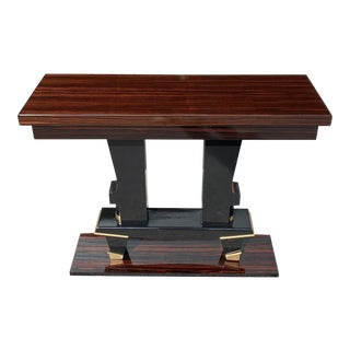 1940s Vintage French Art Deco Exotic Macassar Ebony Console Table For Sale