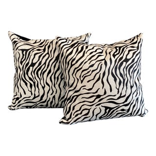 Pair of Zebra Print Cowhide Pillows For Sale