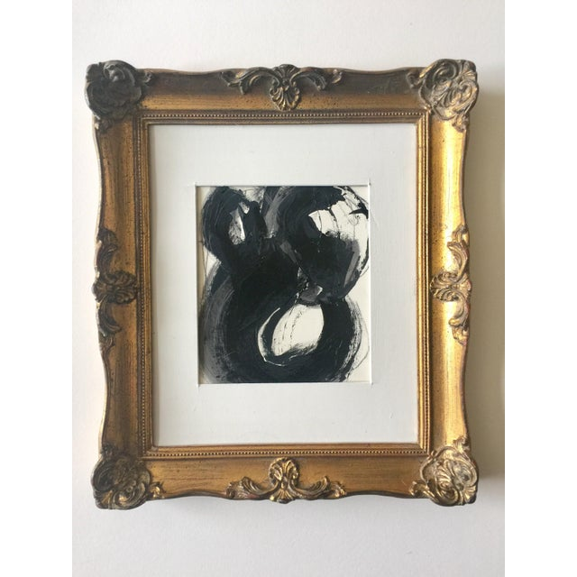 Black White and Gray Abstract in a Vintage Frame For Sale - Image 4 of 4