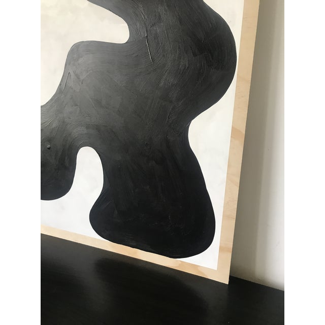 Black Contemporary Diptych Oversized Abstract Acrylic Painting For Sale - Image 8 of 11