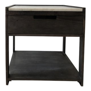 Vintage CB2 Tux Marble-Top Nightstand For Sale