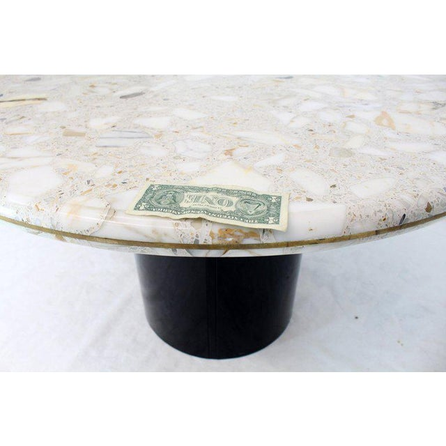 Acrylic Round Marble Top Cylinder Base Center Conference Gueridon Dining Table For Sale - Image 7 of 10