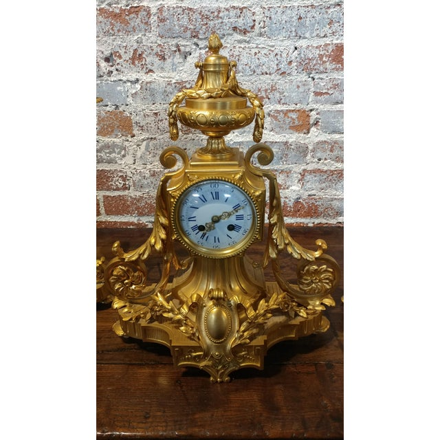 19th century French Empire Clock & Candelabra set-Fabulous Bronze Dore'-c1840s beautiful antique Gilt Bronze Clock with 2...