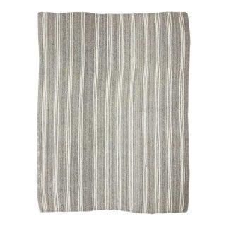 Vintage Gray & White Large Kilim Rug For Sale