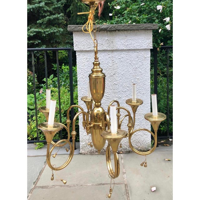 Mid-Century French Style Brass Hunting Horn 6-Light Chandelier For Sale In New York - Image 6 of 8