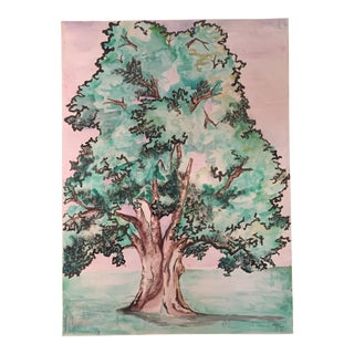Original Vintage Tree Illustration Painting For Sale