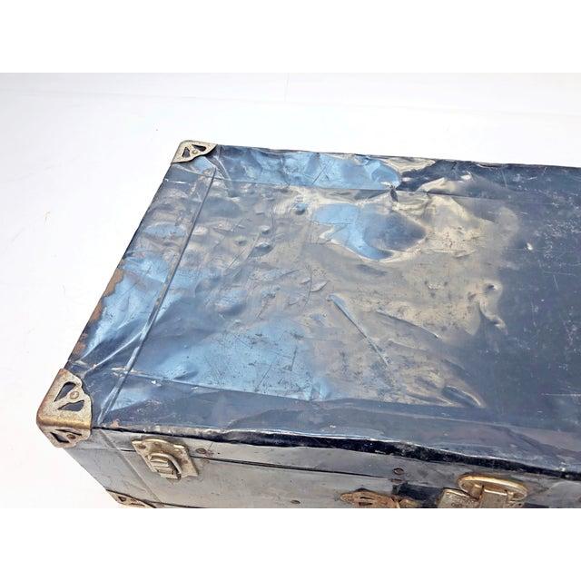 Vintage Distressed Black Metal Storage Trunk For Sale - Image 12 of 13
