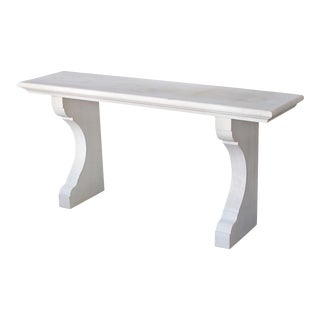 French Carved Limestone Indoor/Outdoor Wall Console Table For Sale